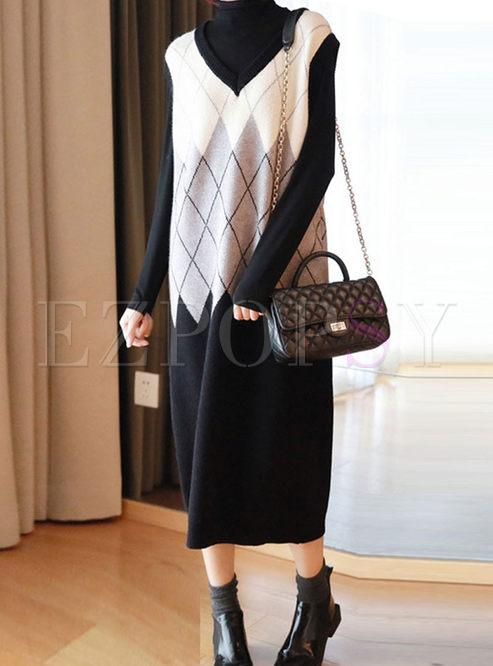 V-neck Sleeveless Diamond Shift Vest Dress