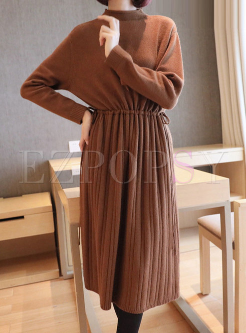 Mock Neck Pleated Sweater Dress With Drawcord