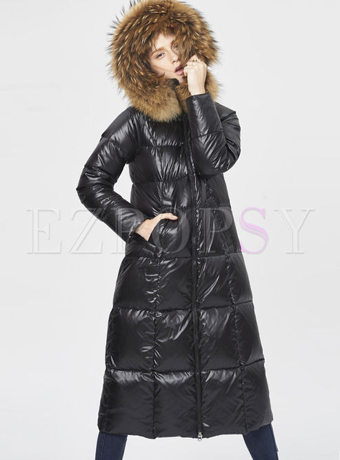 Hooded Long Sleeve Slim Puffer Coat