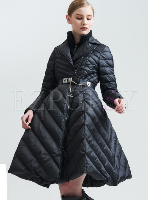 Mock Neck High Waisted A Line Puffer Coat