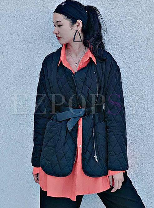 Solid Color Plaid Cotton Jacket With Belt