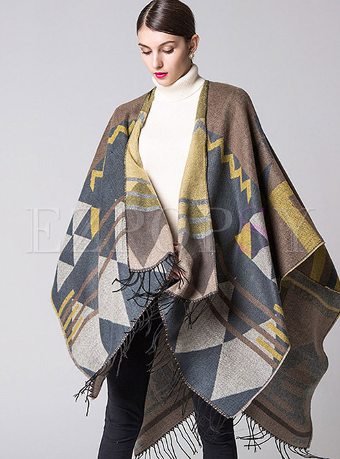 Color-blocked Geometric Print Fringed Scarf