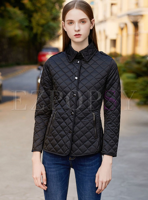 Turn Down Collar Short Slim Jacket
