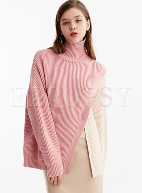 Turtleneck Color-blocked Pullover Sweater