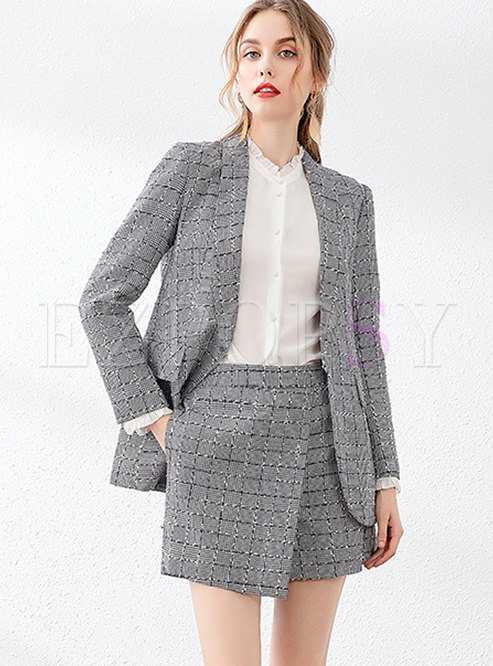 Long Sleeve Plaid High Waisted Short Pant Suits