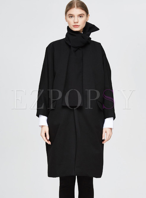 Crew Neck Bat Sleeve Loose Down Coat With Scarf