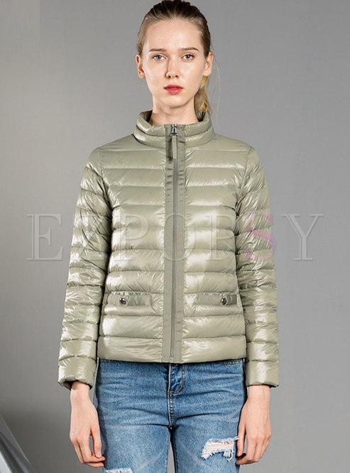 Solid Color Short Slim Puffer Jacket