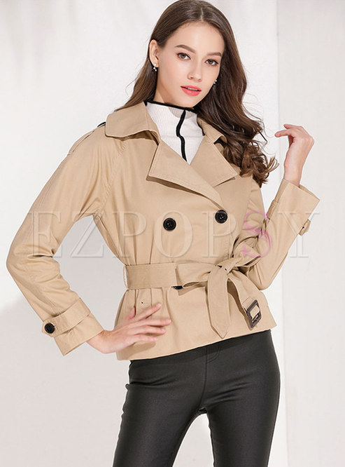 Solid Color Lapel Short Trench Coat