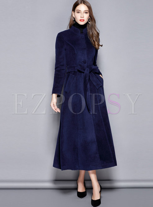 Solid Color Mock Neck Long A Line Overcoat