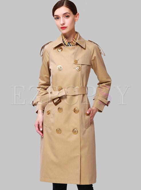 Khaki Lapel Knee-length Trench Coat