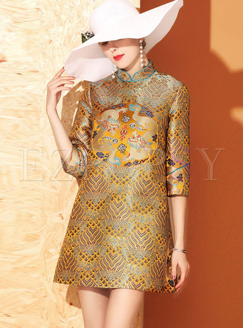 Mandarin Collar Jacquard Shift Mini Dress