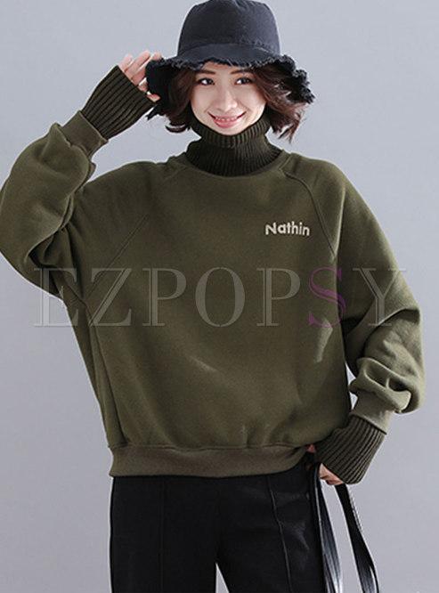 Turtleneck Pullover Plus Size Sweatshirt