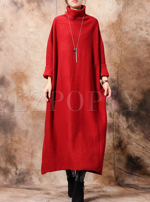 Turtleneck Long Sleeve Shift Sweater Dress