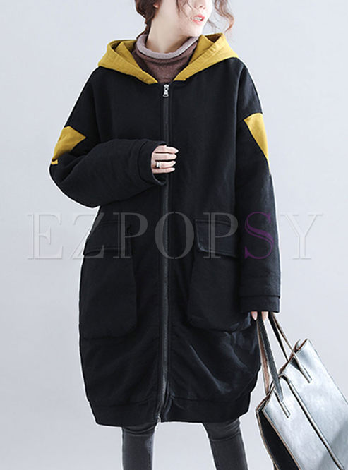 Color-blocked Hooded Loose Plus Size Coat