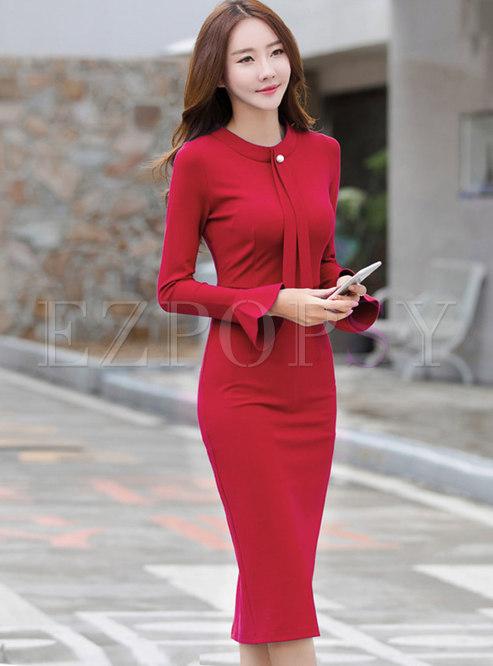 Flare Sleeve Split Bodycon Midi Dress