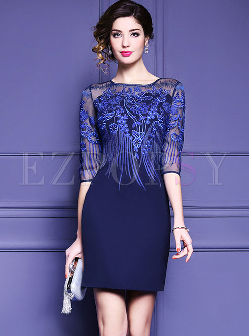 Crew Neck Embroidered Patchwork Perspective Bodycon Dress