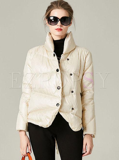 Mock Neck Short Slim Puffer Coat