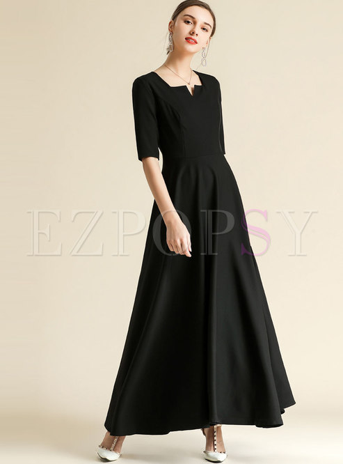 Square Collar Solid Color Waist Long Formal Dress