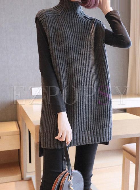 Turtleneck Sleeveless Slim Knit Sweater