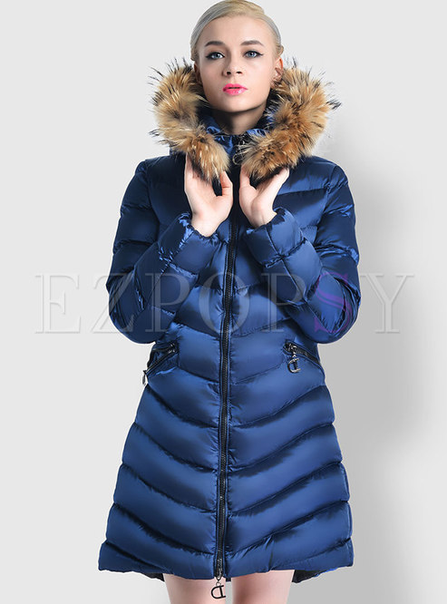 Solid Color Slim A Line Down Cotton Puffer Coat