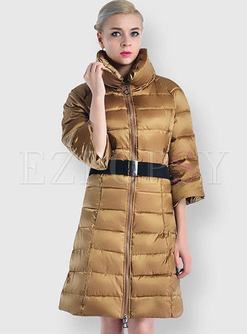 Mock Neck Waist Down Cotton Puffer Coat
