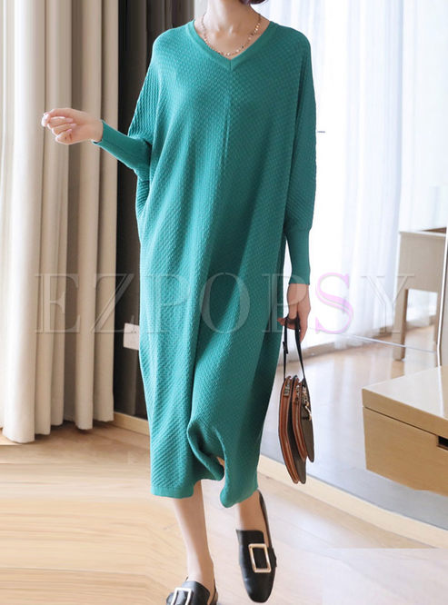 V-neck Long Sleeve Shift Sweater Dress