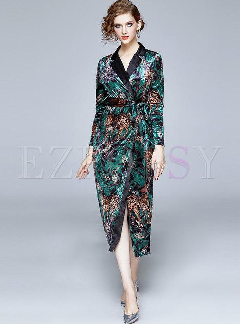 V-neck Print Waist Tie Bodycon Dress
