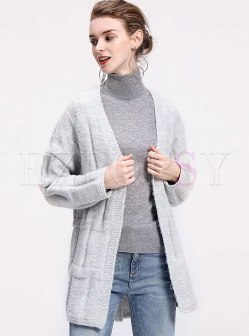 Solid Color V-neck Straight Sweater Coat