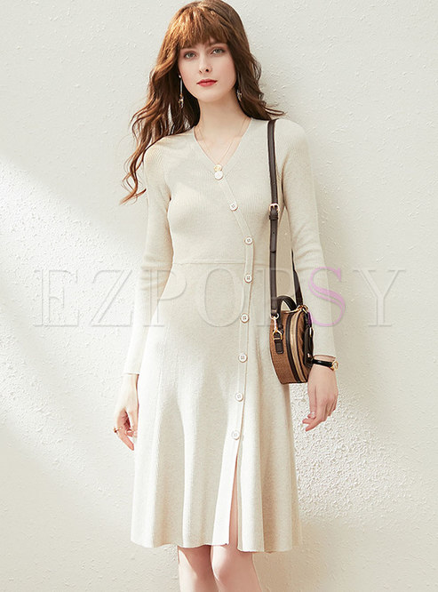 V-neck Single-breasted A Line Sweater Dress