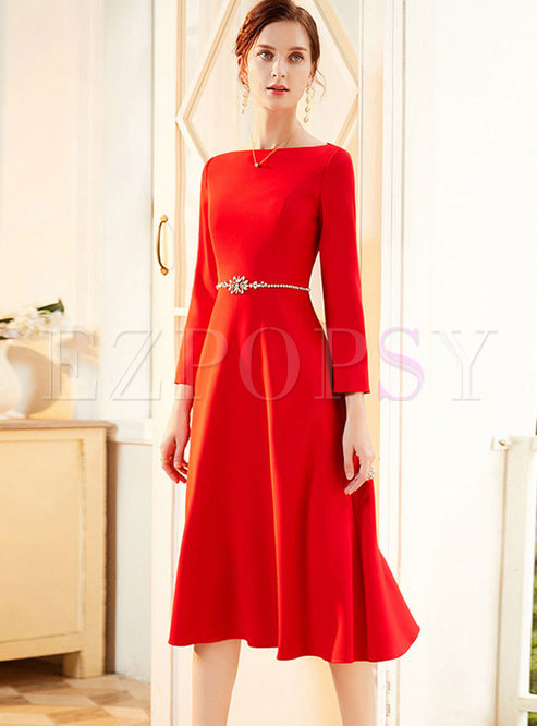 Red Long Sleeve Beading A Line Cocktail Dress