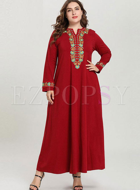 Red Plus Size Embroidered Maxi Dress