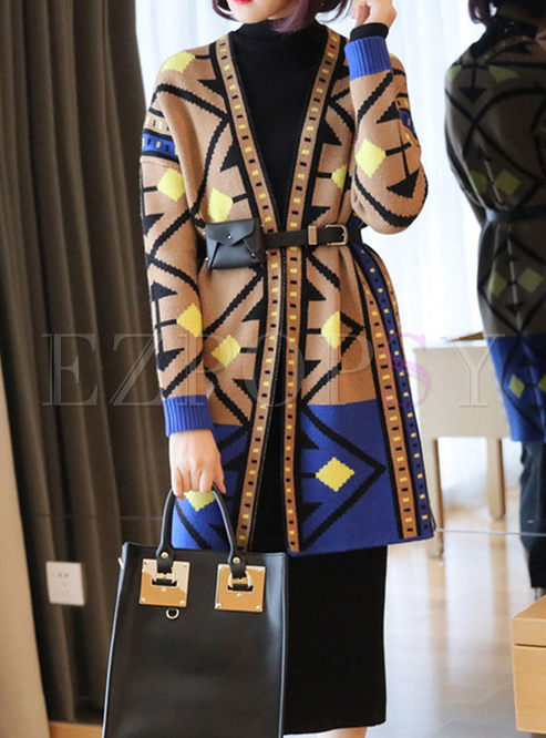 V-neck Geometric Print Loose Sweater Coat