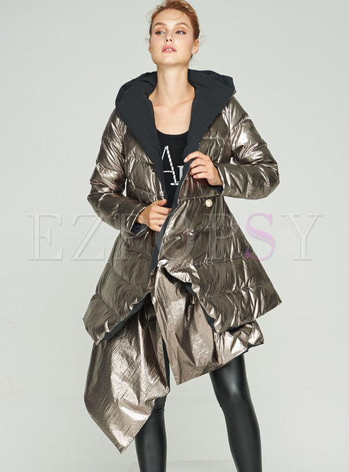 Hooded Reversible A Line Puffer Coat