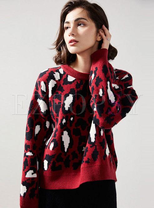 Crew Neck Print Pullover Loose Sweater