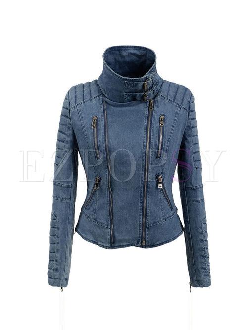Zipper Slim Short Denim Jacket