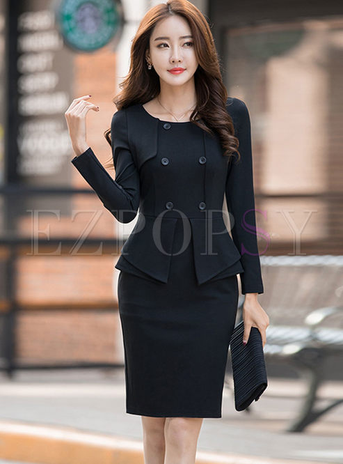 Long Sleeve Falbala Patchwork Bodycon Dress
