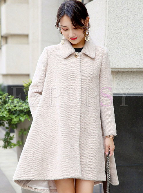 Solid Color A Line Thick Overcoat