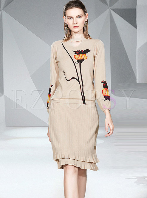 Embroidered Slim Knit Suit Dress