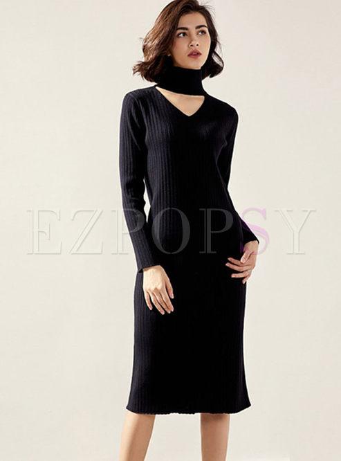Long Sleeve V-neck Slim Sweater Midi Dress