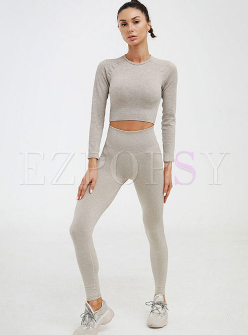 Crew Neck Long Sleeve Tight Workout Tracksuit