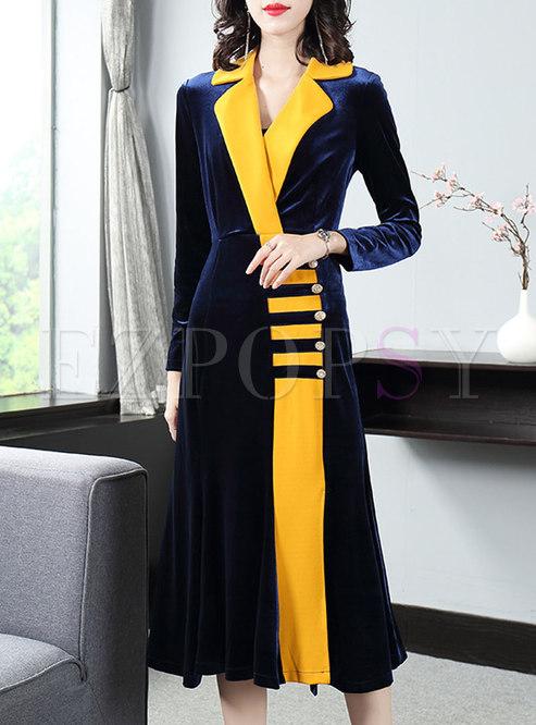 Patchwork Color-blocked Velvet Bodycon Dress