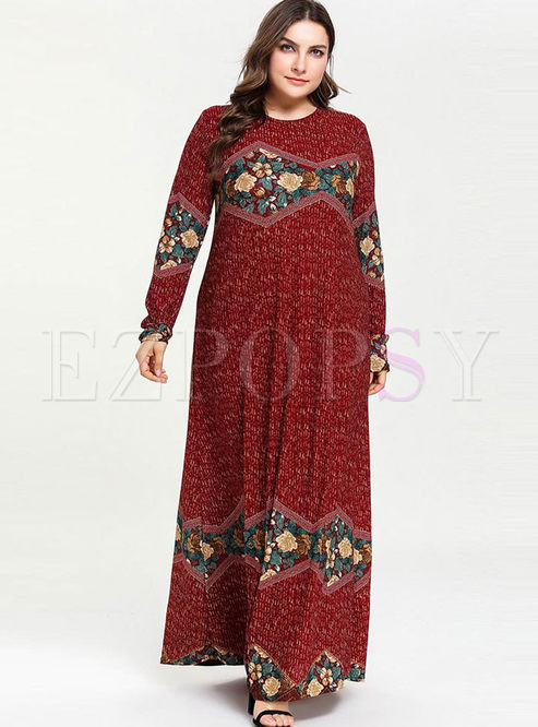 Plus Size Crew Neck Print Maxi Dress