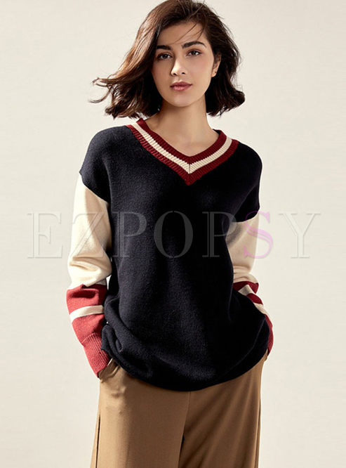Color-blocked Pullover Loose Sweater