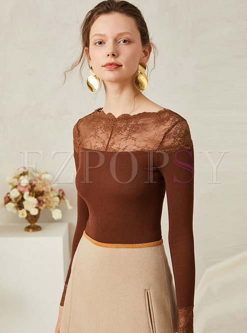 Lace Patchwork Perspective Slim Sweater
