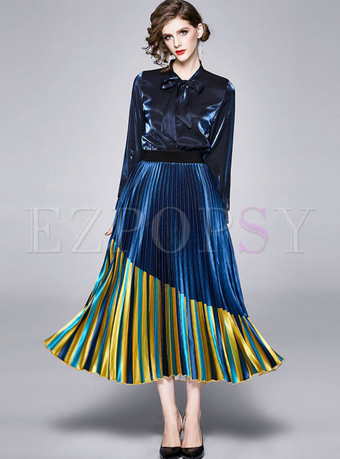 Bowknot Long Sleeve A Line Pleated Suit Dress