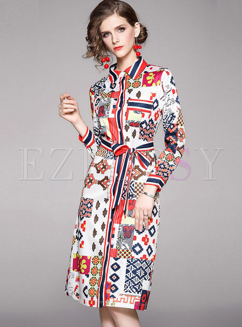 Lapel Print Single-breasted Shirt Dress
