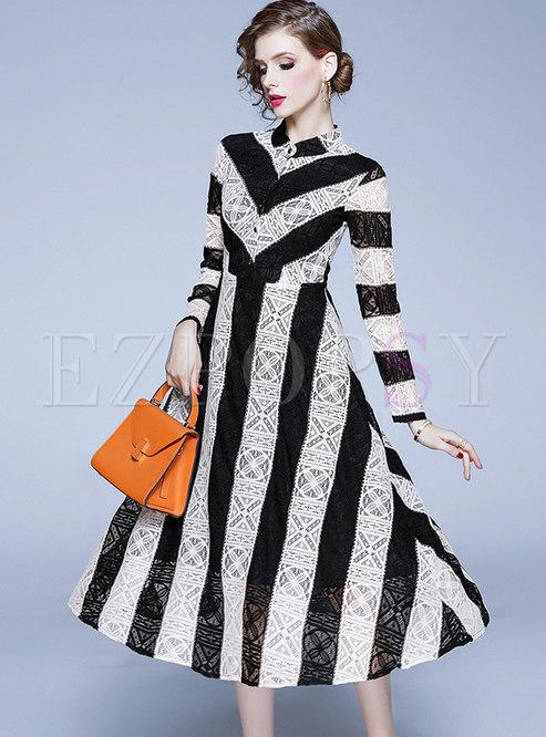Color-blocked Striped Openwork Skater Midi Dress
