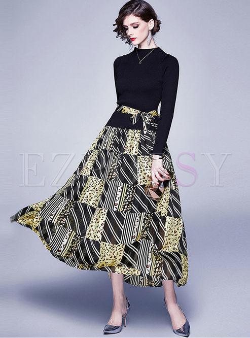 Mock Neck Knit Patchwork Print Maxi Dress