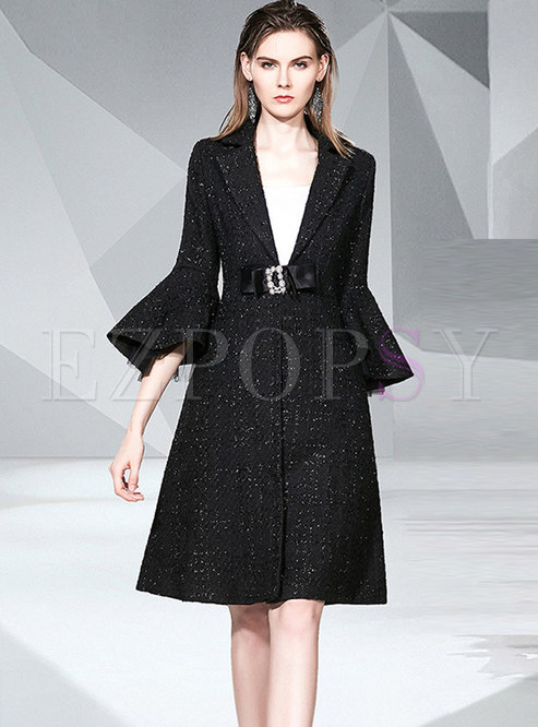 Flare Sleeve A Line Tweed Coat With Belt
