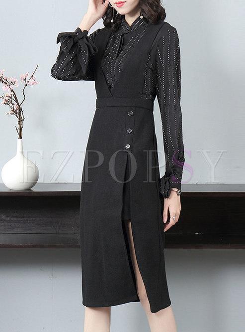 Diamond Slim Split Suit Dress